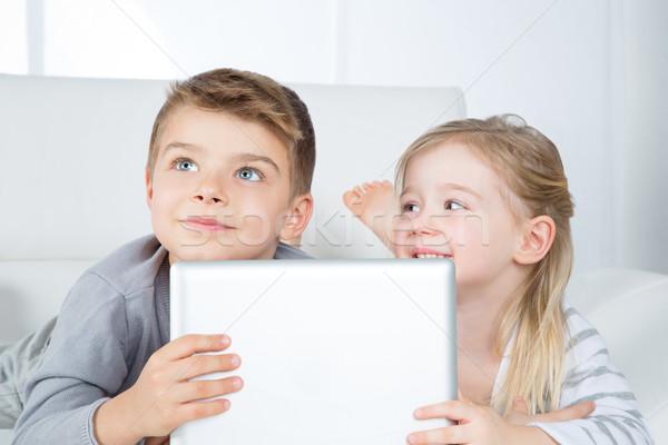 Portret smart brat siostra mały chłopca Zdjęcia stock © Dave_pot