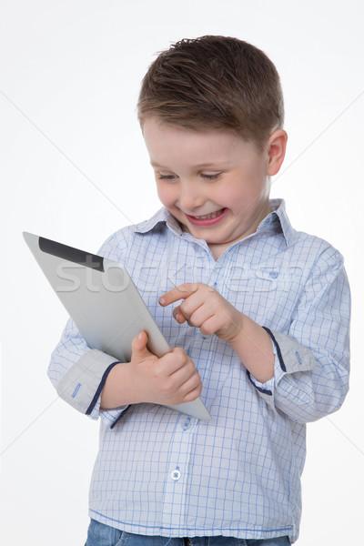 çocuk tablet erkek çocuk bakıyor komik Stok fotoğraf © Dave_pot