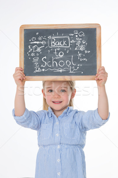 happy child with smock and blackboard Stock photo © Dave_pot