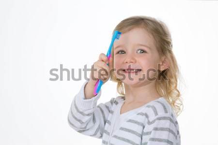 Profil dziewczyna biały szczęśliwy dziecko Zdjęcia stock © Dave_pot