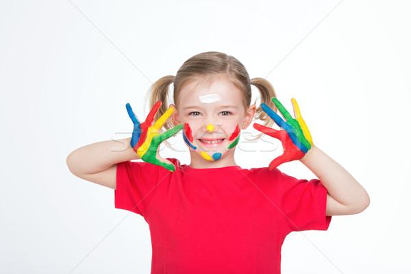 Genç memnun kız çok güzel çocuk Stok fotoğraf © Dave_pot