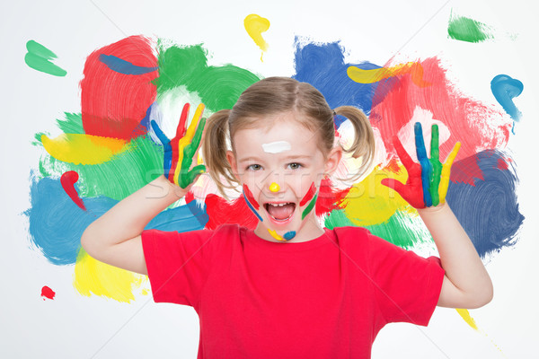 cute young girl after her art lesson Stock photo © Dave_pot