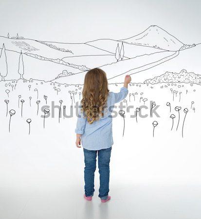 Oluşturma küçük çocuk çocuk duvar semboller Stok fotoğraf © Dave_pot