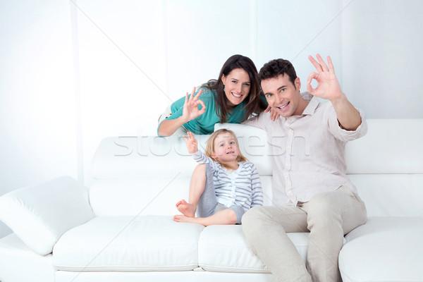 Glückliche Familie positive Mutter Vater Tochter weiß Stock foto © Dave_pot