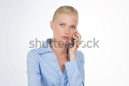 Sarışın kadın şık ciddi kız Stok fotoğraf © Dave_pot