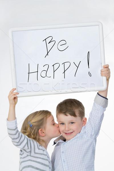 Stock fotó: Gyerekek · boldog · gyerekek · mutat · óriásplakát · fontos