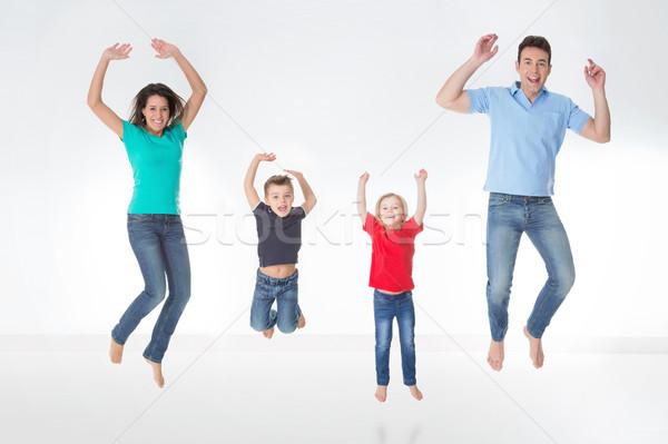 ストックフォト: フル · 家族 · 白 · 母親 · 父 · 子供