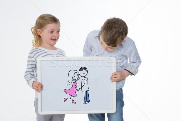 Iki çocuklar oynama beyaz panel erkek Stok fotoğraf © Dave_pot