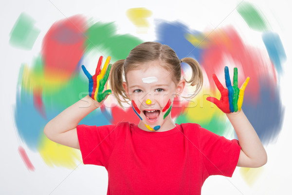 little girl in front of a coloured vortex boasting her vitality Stock photo © Dave_pot