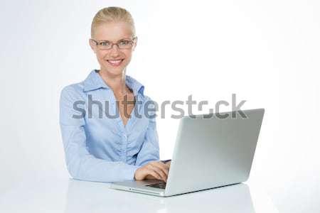 Komik kadın yalıtılmış model kız dizüstü bilgisayar Stok fotoğraf © Dave_pot