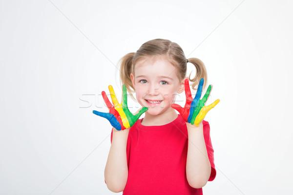 Genç kız eller küçük çocuk sanat ders Stok fotoğraf © Dave_pot