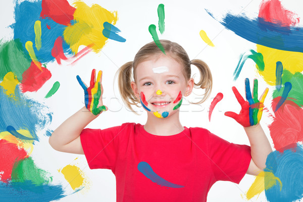 young child showing her hands after her art lesson Stock photo © Dave_pot