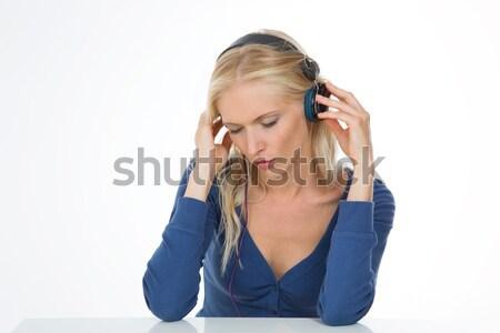 Portret naturalnych kobieta dość pani słuchania Zdjęcia stock © Dave_pot
