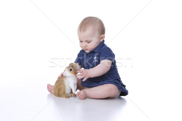 Сток-фото: ребенка · кролик · девушки · Пасху · лице · ребенка