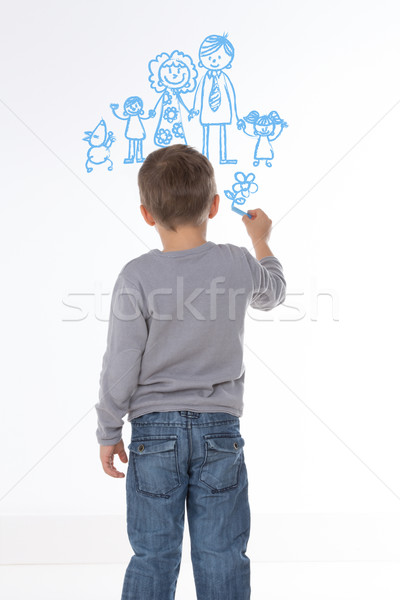 Szczęśliwą rodzinę biały dziecko szkic własny rodziny Zdjęcia stock © Dave_pot