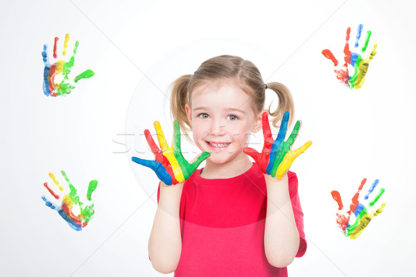 Сток-фото: девушки · Живопись · мало · ребенка · весело