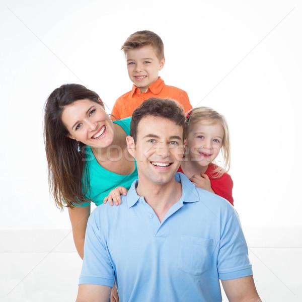 Portret nice młodych rodziny tata mama Zdjęcia stock © Dave_pot