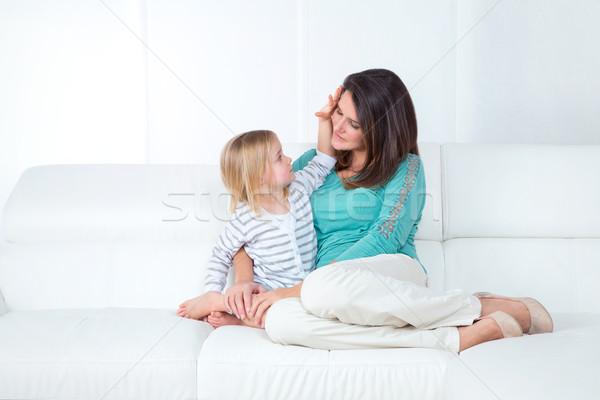 Anne kız beyaz seven küçük kız genç Stok fotoğraf © Dave_pot