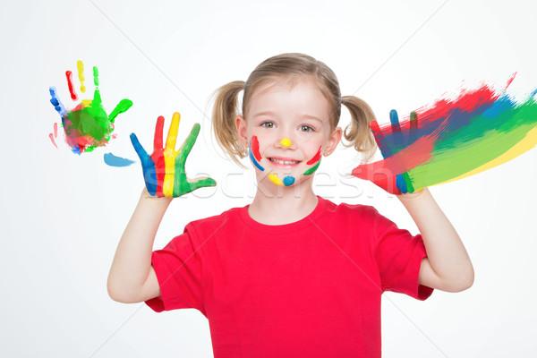Mały artysty zabawy mały dziewczyna strony Zdjęcia stock © Dave_pot