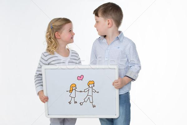 дети белый изолированный два детей глядя Сток-фото © Dave_pot