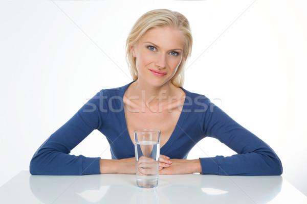 Model piękna dziewczyna szkła wody broni Zdjęcia stock © Dave_pot