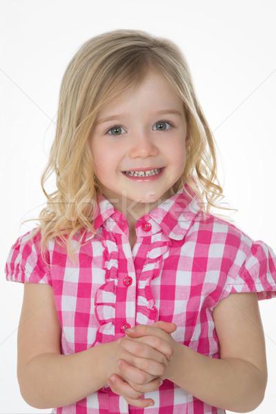 Sinsi sevimli kız beyaz çocuk Stok fotoğraf © Dave_pot