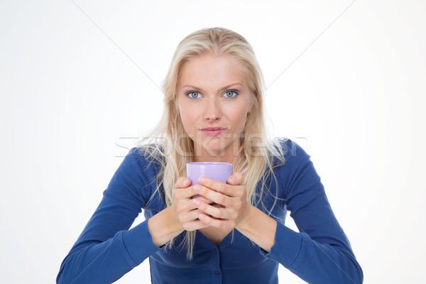 Poważny dziewczyna biały herbaty rano Zdjęcia stock © Dave_pot