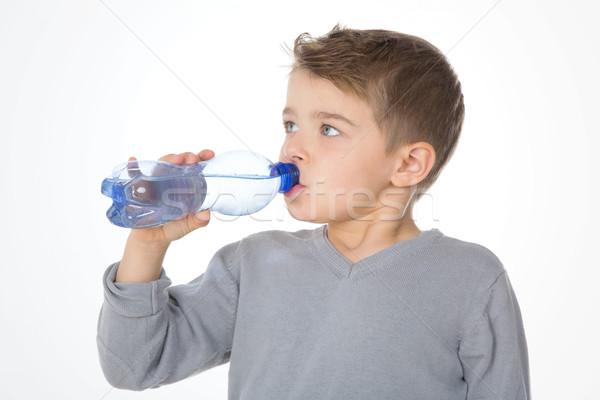 ストックフォト: 深刻 · 子 · 子供 · ドリンク · 青 · プラスチック