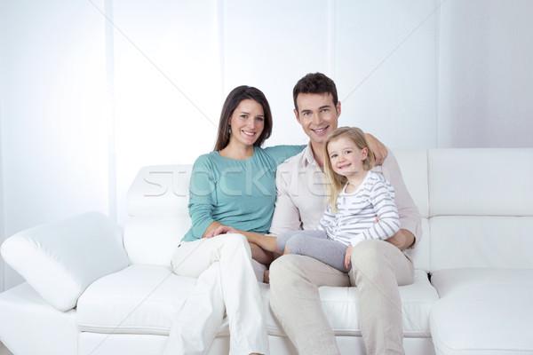 Młodych rodziny mama tata córka uśmiechnięty Zdjęcia stock © Dave_pot