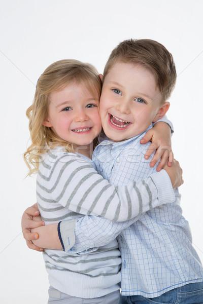 Mutlu çocuklar çift sarılmak kardeş kardeş Stok fotoğraf © Dave_pot