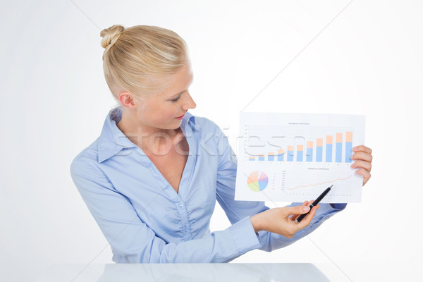 ブロンド ビジネス女性 ポインティング グラフ ペン 美少女 ストックフォト © Dave_pot
