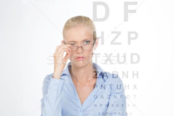 ストックフォト: 少女 · 眼鏡屋 · ブロンド · 女性 · 試験