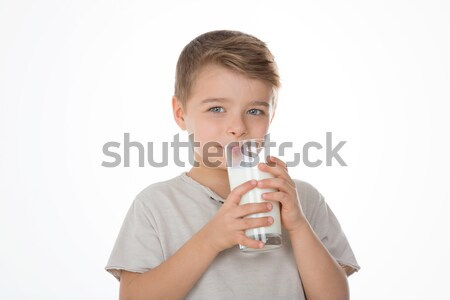 çocuk cam çocuk içecekler bebek mutlu Stok fotoğraf © Dave_pot