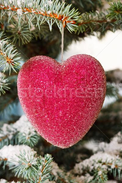 Kırmızı cam Noel kalpler ağaç kar Stok fotoğraf © david010167
