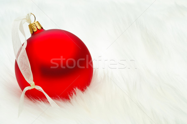 Kırmızı Noel önemsiz şey krem şerit kar Stok fotoğraf © david010167