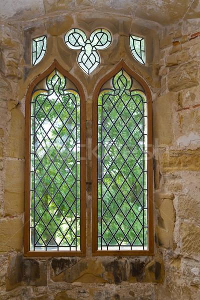 Starych opactwo okno szkła Windows wapień Zdjęcia stock © david010167