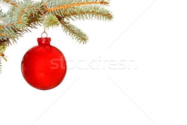 Lumineuses rouge Noël babiole arbre verre Photo stock © david010167