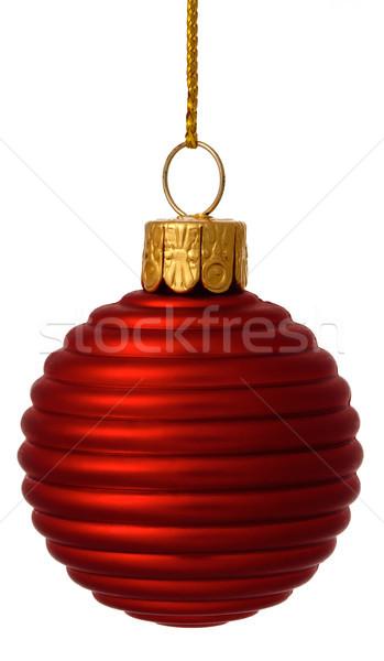 Czerwony christmas cacko odizolowany biały złota Zdjęcia stock © david010167