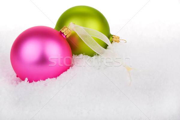 Christmas śniegu zielone zabawy złota kolor Zdjęcia stock © david010167