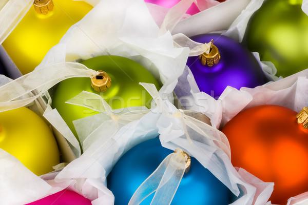 Christmas dekoracje pomarańczowy polu niebieski zabawy Zdjęcia stock © david010167
