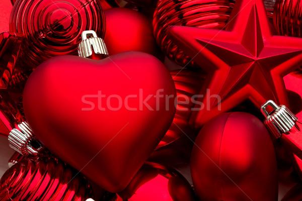 Noel süslemeleri kalpler eğlence kırmızı renk Stok fotoğraf © david010167