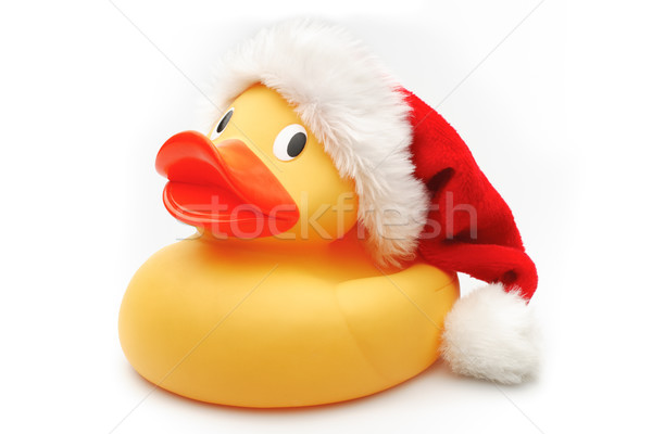 Christmas kaczka gumy tkaniny czerwony zabawki Zdjęcia stock © david010167