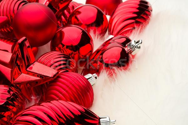 Noel süslemeleri kalpler eğlence kırmızı altın Stok fotoğraf © david010167