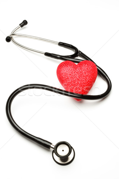 Stetoskop serca czerwony zdrowia badań test Zdjęcia stock © david010167