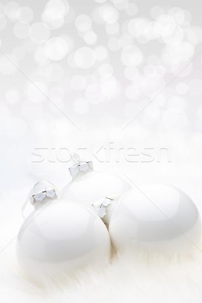 White Christmas Babules with bokeh background Stock photo © david010167