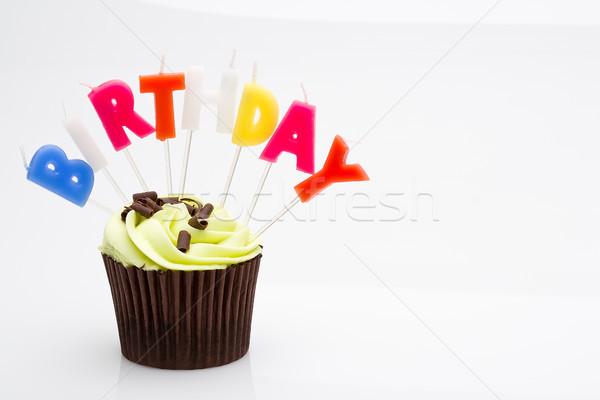 Urodziny tort zielone uroczystości ciasta odizolowany Zdjęcia stock © david010167