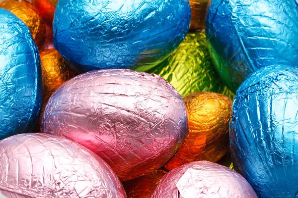 Paskalya yumurtası çikolata turuncu yeşil mavi yumurta Stok fotoğraf © david010167