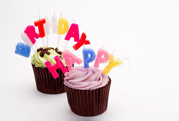 С Днем Рождения именинный торт свечей зеленый празднования торты Сток-фото © david010167