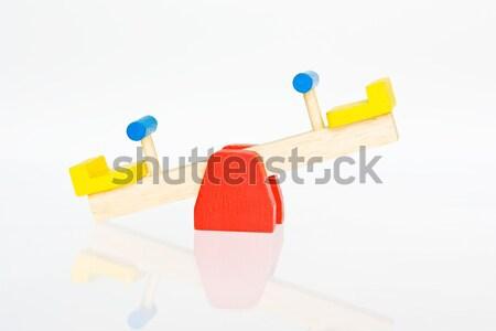 Równowagi dzieci drewna dziecko niebieski Zdjęcia stock © david010167