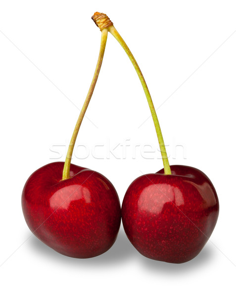 Pair fresh cherries on white with clipping path Stock photo © david010167